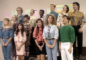 I'm really surprised that Screech and Slater's over-the-top performances didn't clue Belding in to the lip-synching. Way to overdo it, guys.